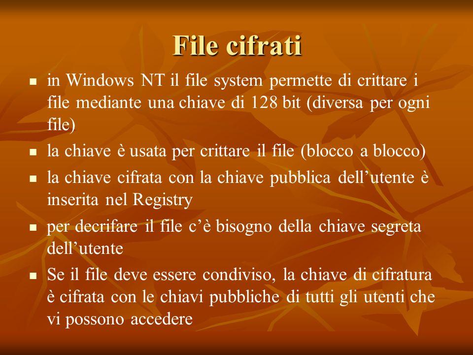 File cifrati in Windows NT il file system permette di crittare i file mediante una chiave di 128 bit (diversa per ogni file) la chiave è usata per crittare il file (blocco a blocco) la chiave cifrata con la chiave pubblica dellutente è inserita nel Registry per decrifare il file cè bisogno della chiave segreta dellutente Se il file deve essere condiviso, la chiave di cifratura è cifrata con le chiavi pubbliche di tutti gli utenti che vi possono accedere