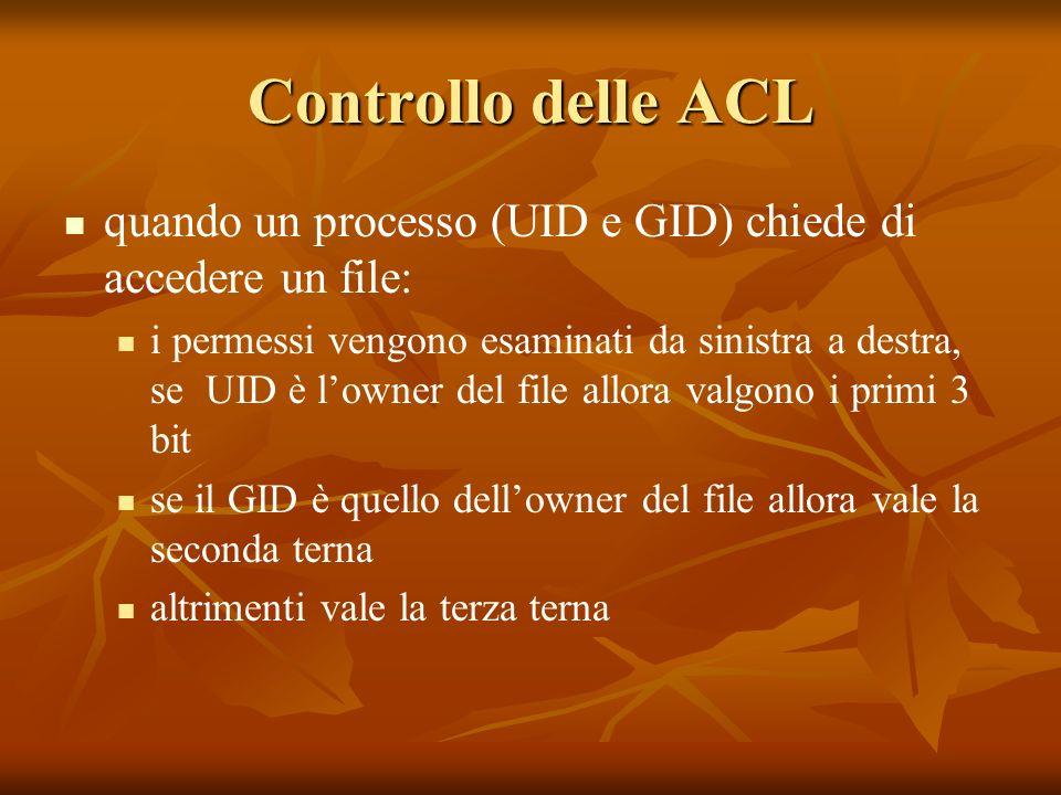 Controllo delle ACL quando un processo (UID e GID) chiede di accedere un file: i permessi vengono esaminati da sinistra a destra, se UID è lowner del file allora valgono i primi 3 bit se il GID è quello dellowner del file allora vale la seconda terna altrimenti vale la terza terna