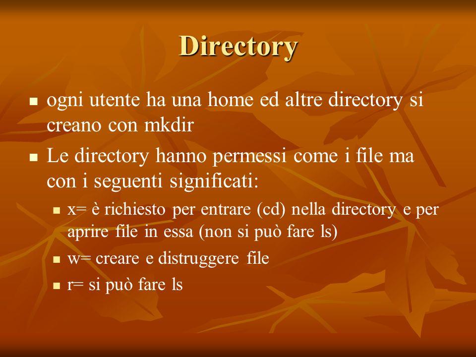 Directory ogni utente ha una home ed altre directory si creano con mkdir Le directory hanno permessi come i file ma con i seguenti significati: x= è richiesto per entrare (cd) nella directory e per aprire file in essa (non si può fare ls) w= creare e distruggere file r= si può fare ls