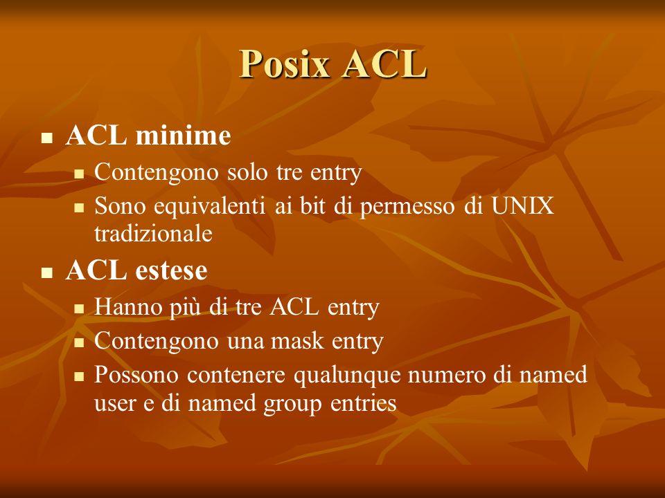 Posix ACL ACL minime Contengono solo tre entry Sono equivalenti ai bit di permesso di UNIX tradizionale ACL estese Hanno più di tre ACL entry Contengono una mask entry Possono contenere qualunque numero di named user e di named group entries