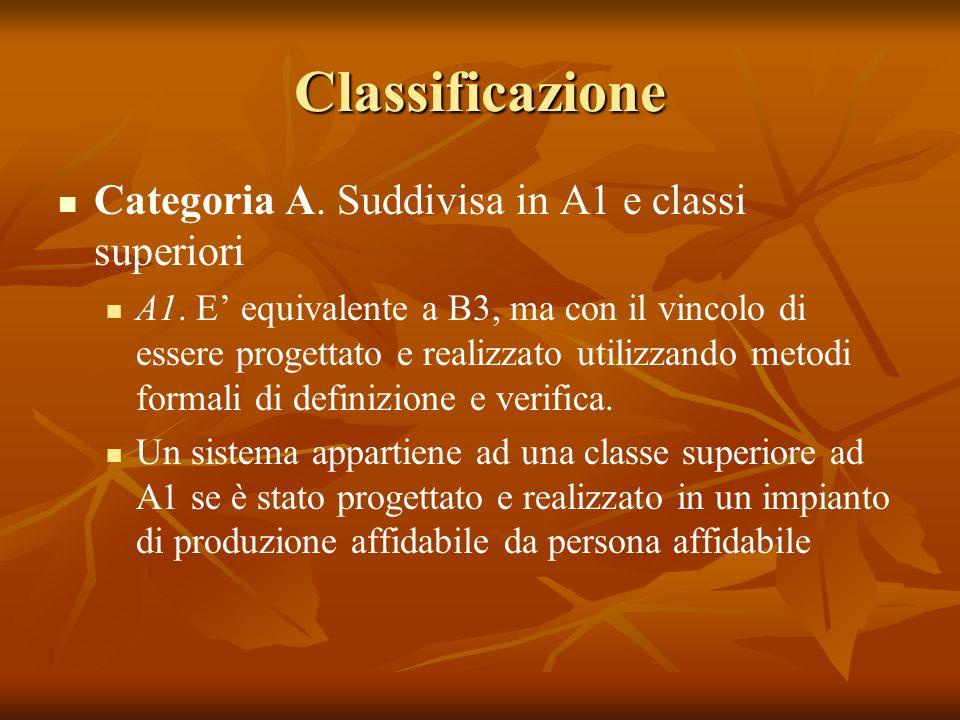 Classificazione Categoria A.Suddivisa in A1 e classi superiori A1.