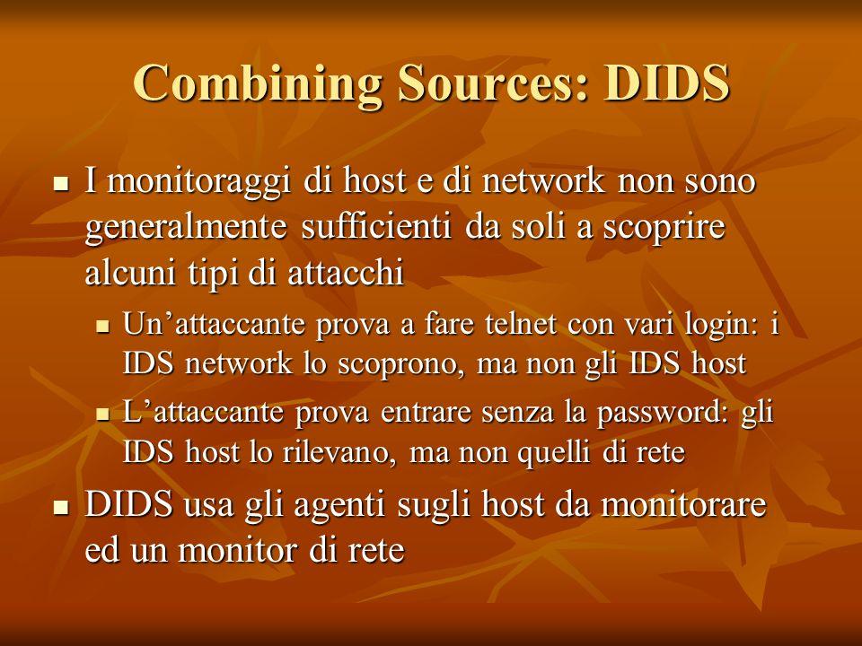 Combining Sources: DIDS I monitoraggi di host e di network non sono generalmente sufficienti da soli a scoprire alcuni tipi di attacchi I monitoraggi di host e di network non sono generalmente sufficienti da soli a scoprire alcuni tipi di attacchi Unattaccante prova a fare telnet con vari login: i IDS network lo scoprono, ma non gli IDS host Unattaccante prova a fare telnet con vari login: i IDS network lo scoprono, ma non gli IDS host Lattaccante prova entrare senza la password: gli IDS host lo rilevano, ma non quelli di rete Lattaccante prova entrare senza la password: gli IDS host lo rilevano, ma non quelli di rete DIDS usa gli agenti sugli host da monitorare ed un monitor di rete DIDS usa gli agenti sugli host da monitorare ed un monitor di rete