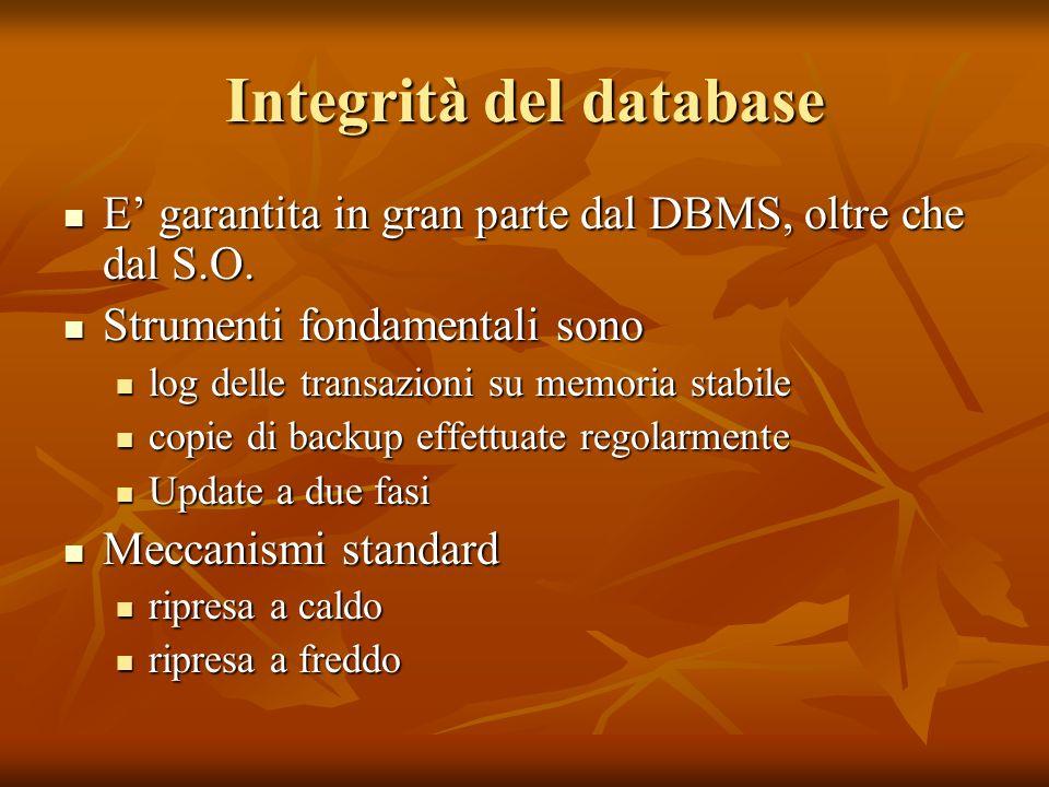 Integrità del database E garantita in gran parte dal DBMS, oltre che dal S.O.