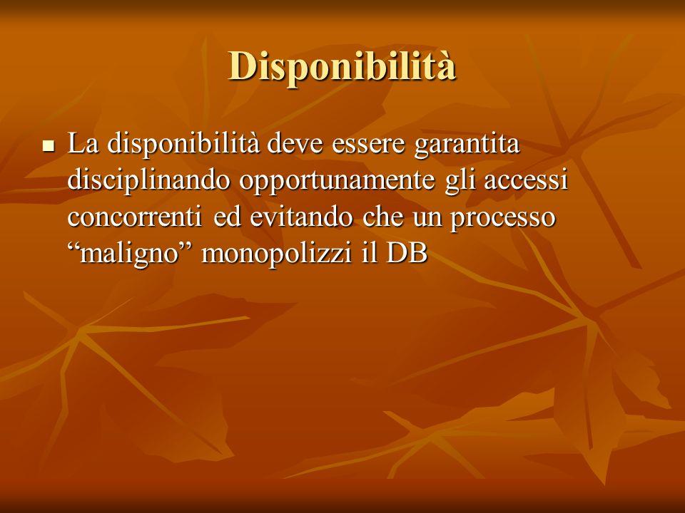 Disponibilità La disponibilità deve essere garantita disciplinando opportunamente gli accessi concorrenti ed evitando che un processo maligno monopolizzi il DB La disponibilità deve essere garantita disciplinando opportunamente gli accessi concorrenti ed evitando che un processo maligno monopolizzi il DB