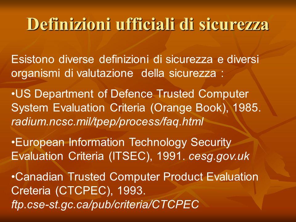Esistono diverse definizioni di sicurezza e diversi organismi di valutazione della sicurezza : US Department of Defence Trusted Computer System Evalua