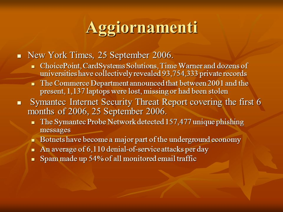 Aggiornamenti New York Times, 25 September 2006. New York Times, 25 September 2006. ChoicePoint, CardSystems Solutions, Time Warner and dozens of univ