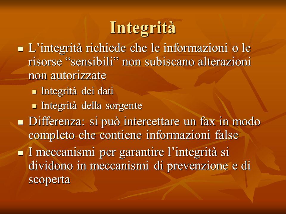 Integrità Lintegrità richiede che le informazioni o le risorse sensibili non subiscano alterazioni non autorizzate Lintegrità richiede che le informazioni o le risorse sensibili non subiscano alterazioni non autorizzate Integrità dei dati Integrità dei dati Integrità della sorgente Integrità della sorgente Differenza: si può intercettare un fax in modo completo che contiene informazioni false Differenza: si può intercettare un fax in modo completo che contiene informazioni false I meccanismi per garantire lintegrità si dividono in meccanismi di prevenzione e di scoperta I meccanismi per garantire lintegrità si dividono in meccanismi di prevenzione e di scoperta