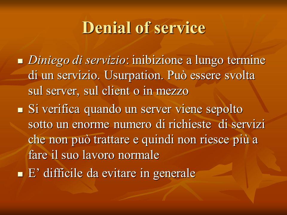 Denial of service Diniego di servizio: inibizione a lungo termine di un servizio.