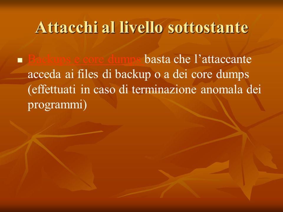 Attacchi al livello sottostante Backups e core dumps basta che lattaccante acceda ai files di backup o a dei core dumps (effettuati in caso di terminazione anomala dei programmi)