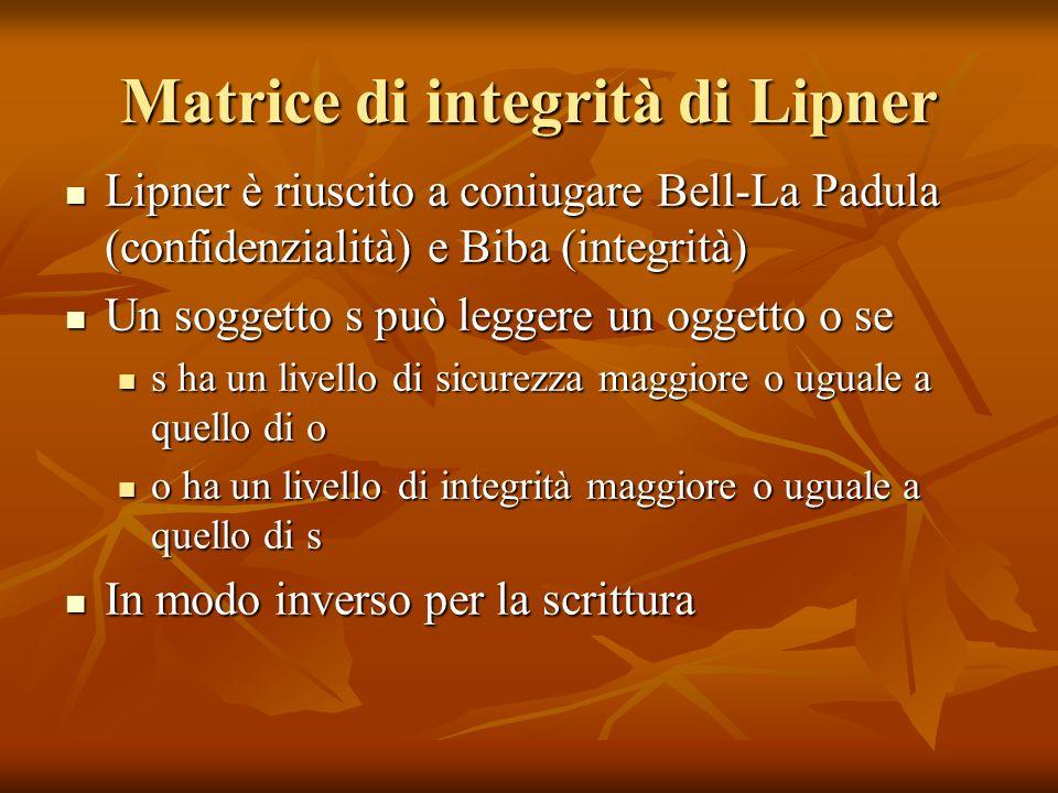 Matrice di integrità di Lipner Lipner è riuscito a coniugare Bell-La Padula (confidenzialità) e Biba (integrità) Lipner è riuscito a coniugare Bell-La