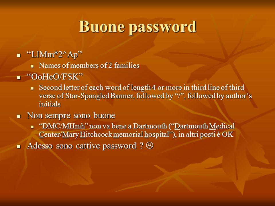 Buone password LlMm*2^Ap LlMm*2^Ap Names of members of 2 families Names of members of 2 families OoHeO/FSK OoHeO/FSK Second letter of each word of len