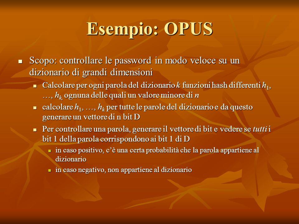 Esempio: OPUS Scopo: controllare le password in modo veloce su un dizionario di grandi dimensioni Scopo: controllare le password in modo veloce su un