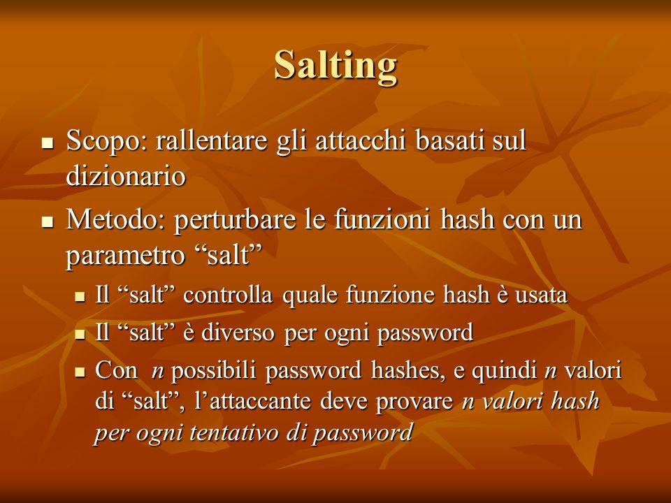 Salting Scopo: rallentare gli attacchi basati sul dizionario Scopo: rallentare gli attacchi basati sul dizionario Metodo: perturbare le funzioni hash