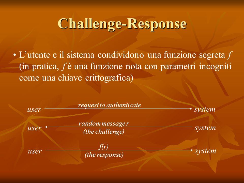 Challenge-Response Lutente e il sistema condividono una funzione segreta f (in pratica, f è una funzione nota con parametri incogniti come una chiave