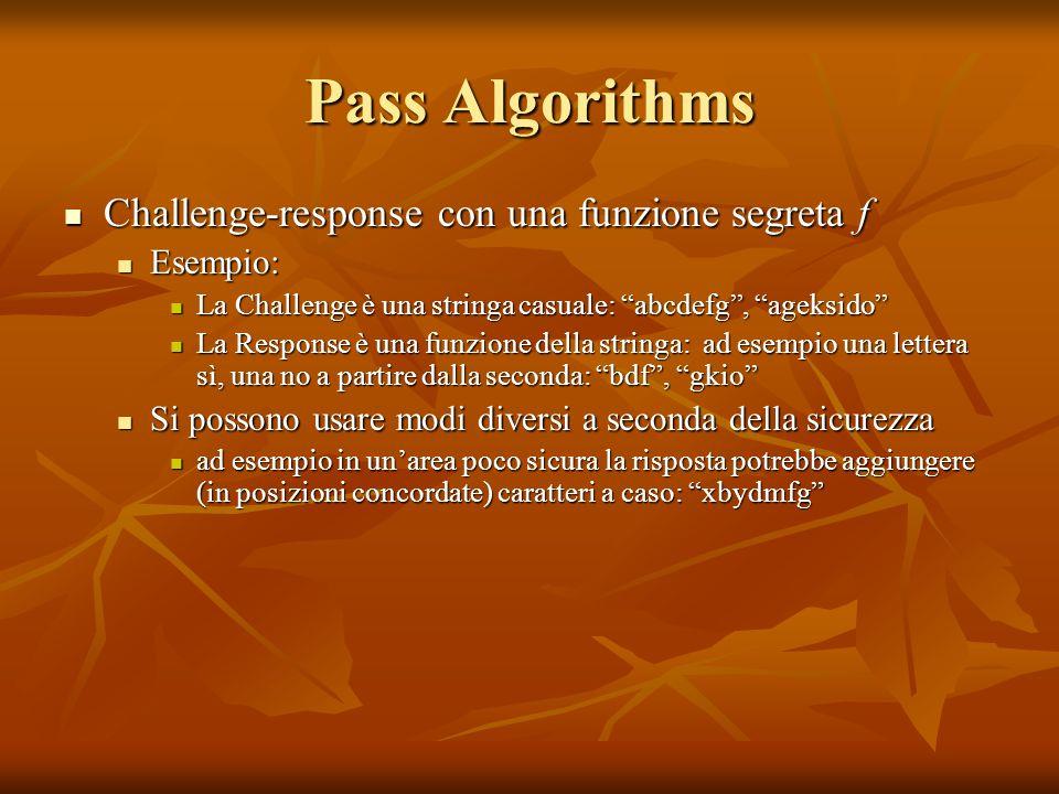 Pass Algorithms Challenge-response con una funzione segreta f Challenge-response con una funzione segreta f Esempio: Esempio: La Challenge è una strin