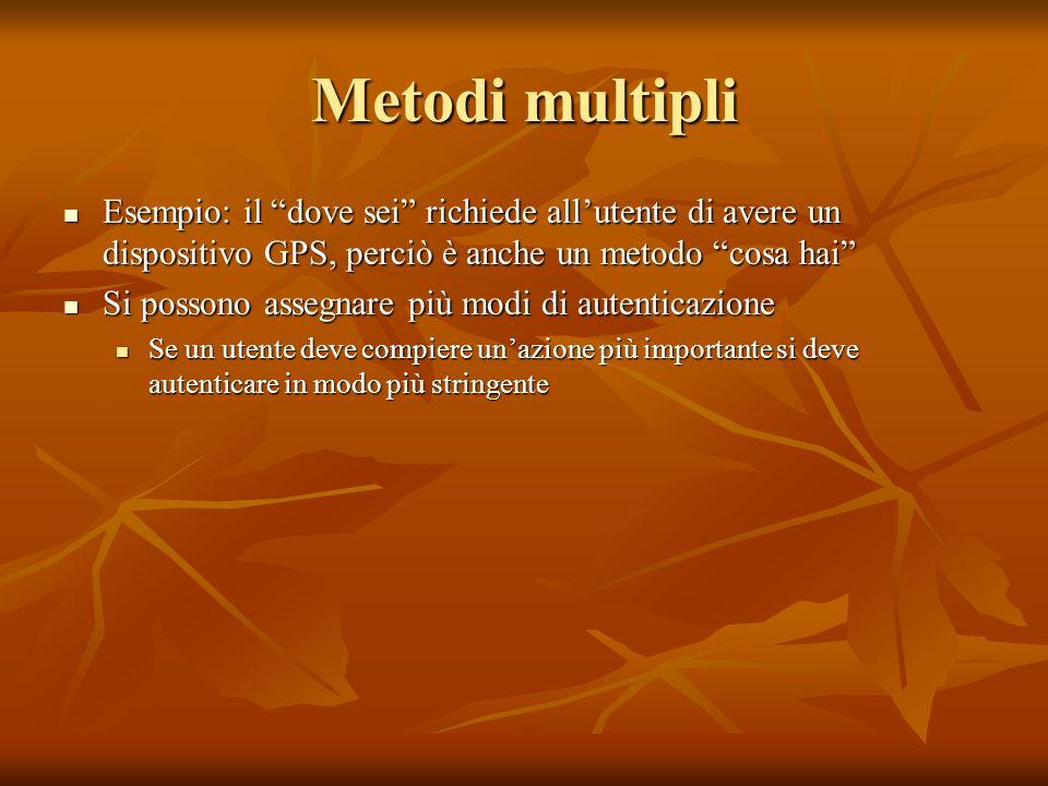 Metodi multipli Esempio: il dove sei richiede allutente di avere un dispositivo GPS, perciò è anche un metodo cosa hai Esempio: il dove sei richiede a