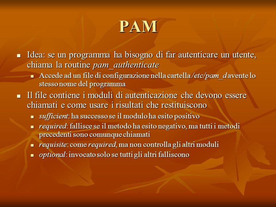 PAM Idea: se un programma ha bisogno di far autenticare un utente, chiama la routine pam_authenticate Idea: se un programma ha bisogno di far autentic
