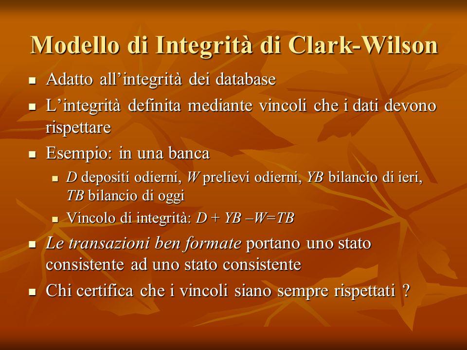 Modello di Integrità di Clark-Wilson Adatto allintegrità dei database Adatto allintegrità dei database Lintegrità definita mediante vincoli che i dati
