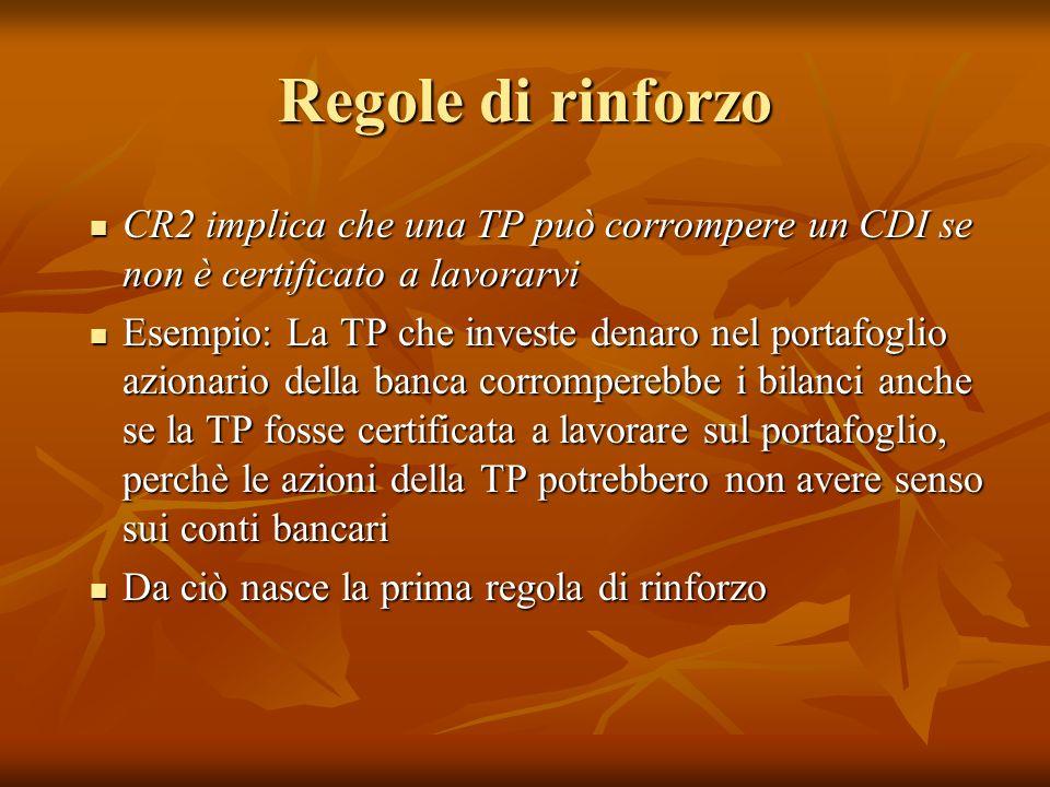 Regole di rinforzo CR2 implica che una TP può corrompere un CDI se non è certificato a lavorarvi CR2 implica che una TP può corrompere un CDI se non è