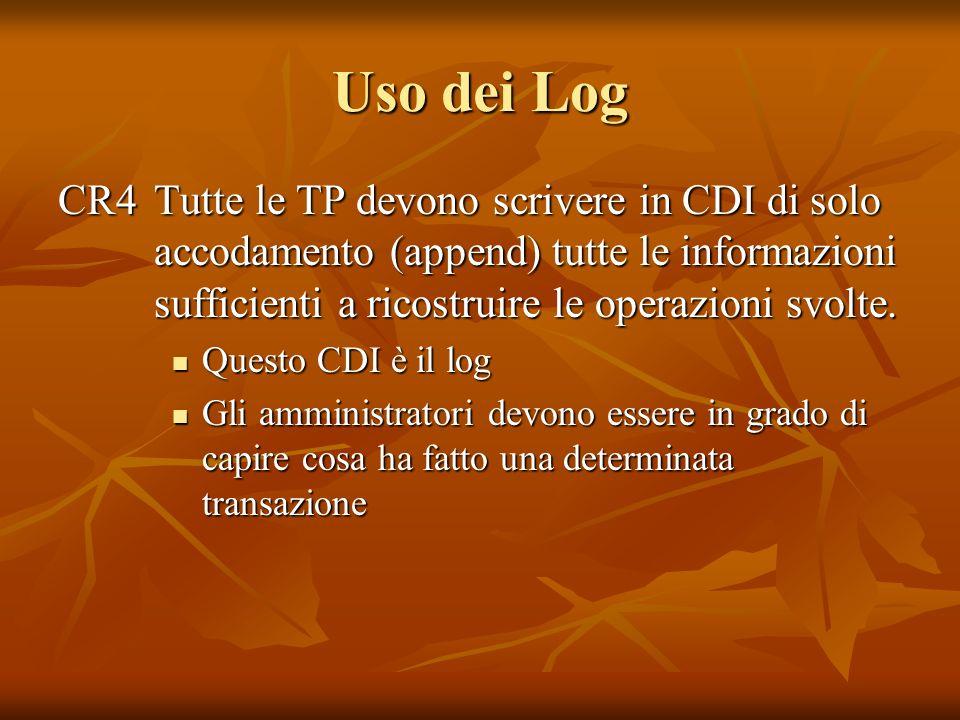Uso dei Log CR4Tutte le TP devono scrivere in CDI di solo accodamento (append) tutte le informazioni sufficienti a ricostruire le operazioni svolte. Q