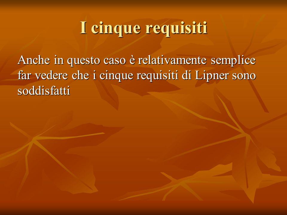 I cinque requisiti Anche in questo caso è relativamente semplice far vedere che i cinque requisiti di Lipner sono soddisfatti