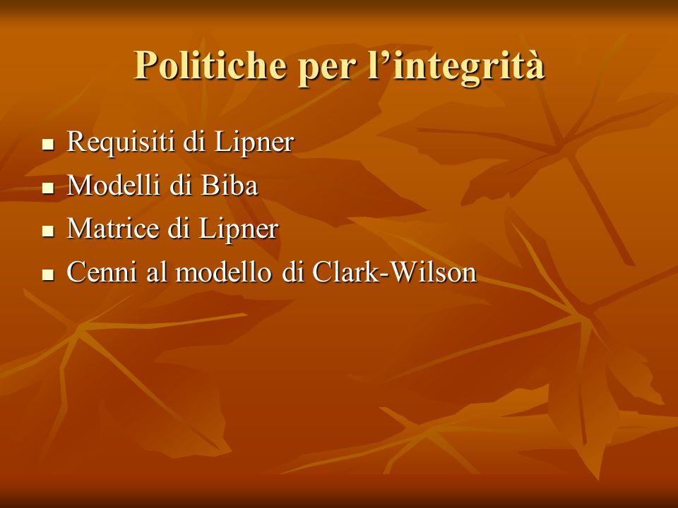 I requisiti di integrità di Lipner 1.