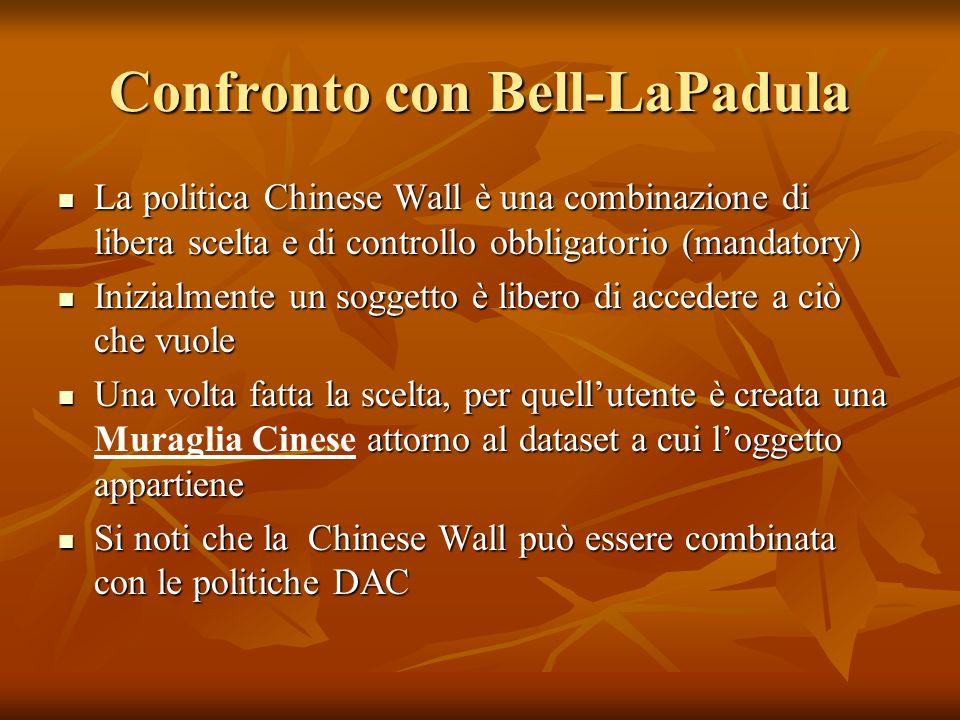 Confronto con Bell-LaPadula La politica Chinese Wall è una combinazione di libera scelta e di controllo obbligatorio (mandatory) La politica Chinese W
