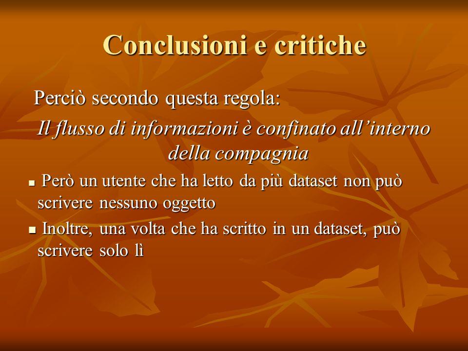 Conclusioni e critiche Perciò secondo questa regola: Perciò secondo questa regola: Il flusso di informazioni è confinato allinterno della compagnia Pe