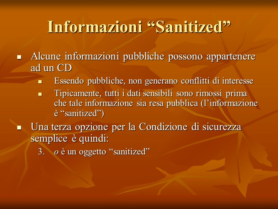 Informazioni Sanitized Alcune informazioni pubbliche possono appartenere ad un CD Alcune informazioni pubbliche possono appartenere ad un CD Essendo p