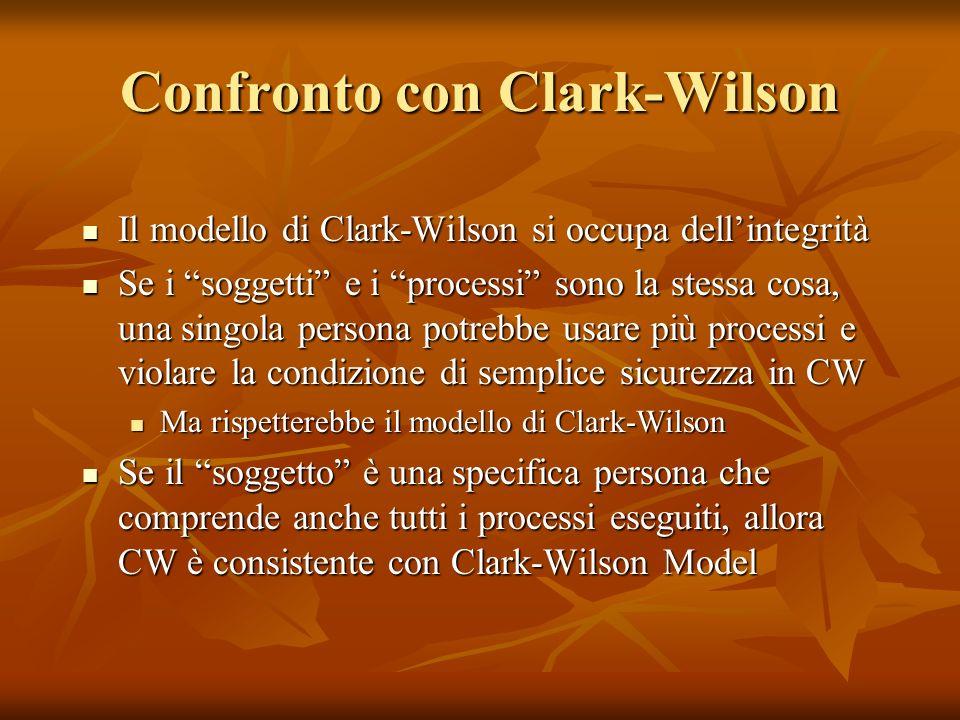 Confronto con Clark-Wilson Il modello di Clark-Wilson si occupa dellintegrità Il modello di Clark-Wilson si occupa dellintegrità Se i soggetti e i pro