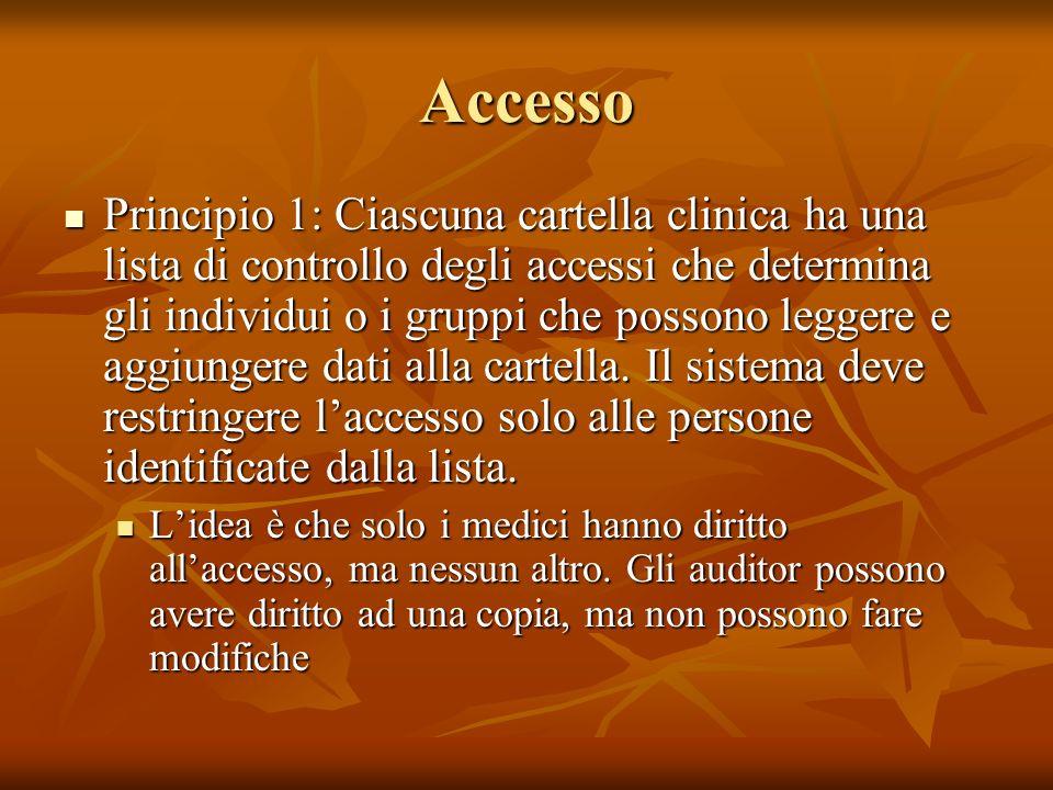 Accesso Principio 1: Ciascuna cartella clinica ha una lista di controllo degli accessi che determina gli individui o i gruppi che possono leggere e ag