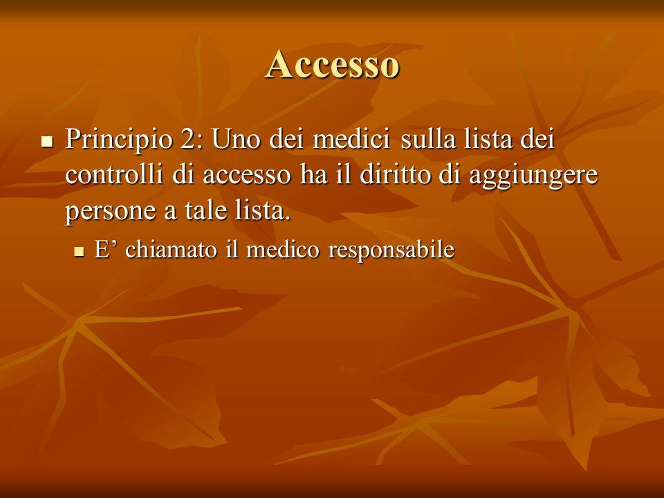 Accesso Principio 2: Uno dei medici sulla lista dei controlli di accesso ha il diritto di aggiungere persone a tale lista. Principio 2: Uno dei medici