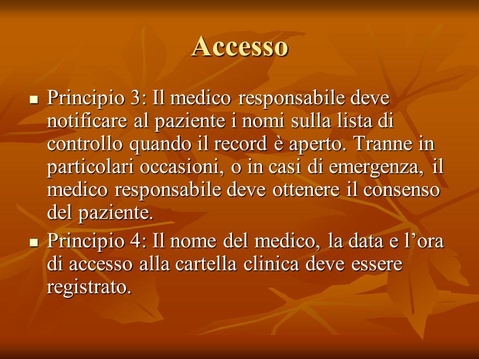 Accesso Principio 3: Il medico responsabile deve notificare al paziente i nomi sulla lista di controllo quando il record è aperto. Tranne in particola