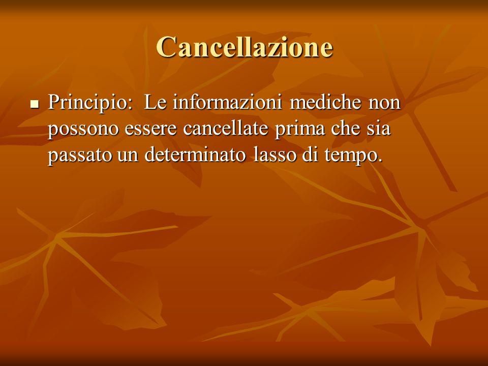 Cancellazione Principio: Le informazioni mediche non possono essere cancellate prima che sia passato un determinato lasso di tempo. Principio: Le info