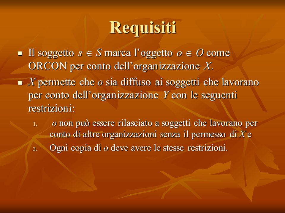 Requisiti Il soggetto s S marca loggetto o O come ORCON per conto dellorganizzazione X. Il soggetto s S marca loggetto o O come ORCON per conto dellor