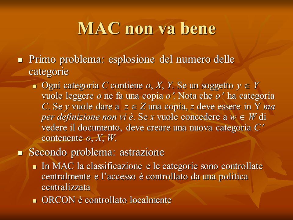 MAC non va bene Primo problema: esplosione del numero delle categorie Primo problema: esplosione del numero delle categorie Ogni categoria C contiene