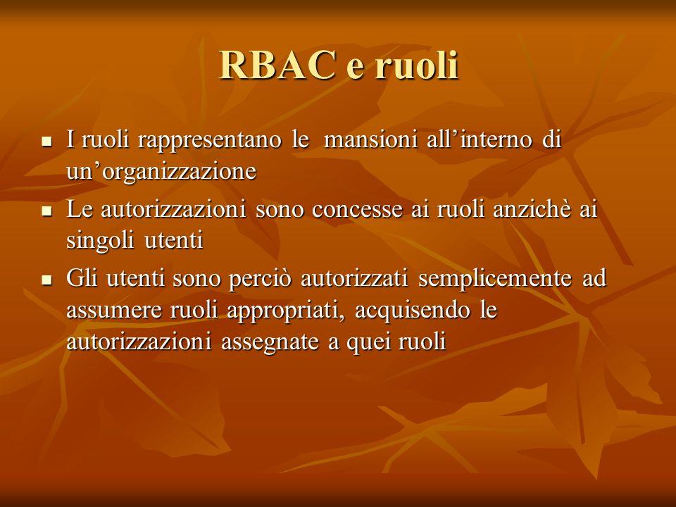 RBAC e ruoli I ruoli rappresentano le mansioni allinterno di unorganizzazione I ruoli rappresentano le mansioni allinterno di unorganizzazione Le auto