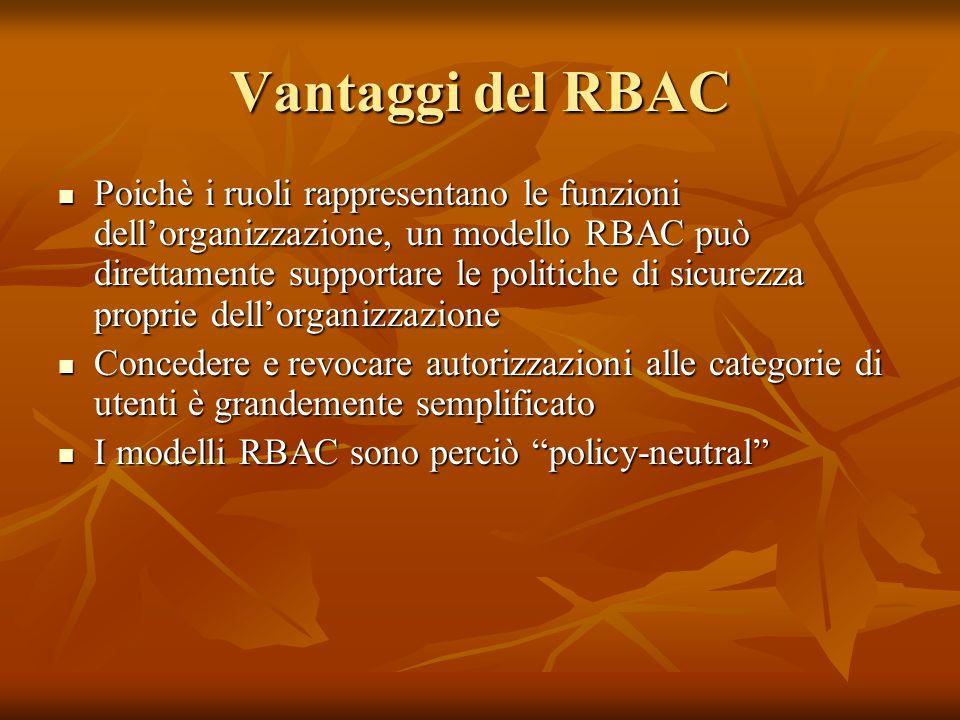 Vantaggi del RBAC Poichè i ruoli rappresentano le funzioni dellorganizzazione, un modello RBAC può direttamente supportare le politiche di sicurezza p