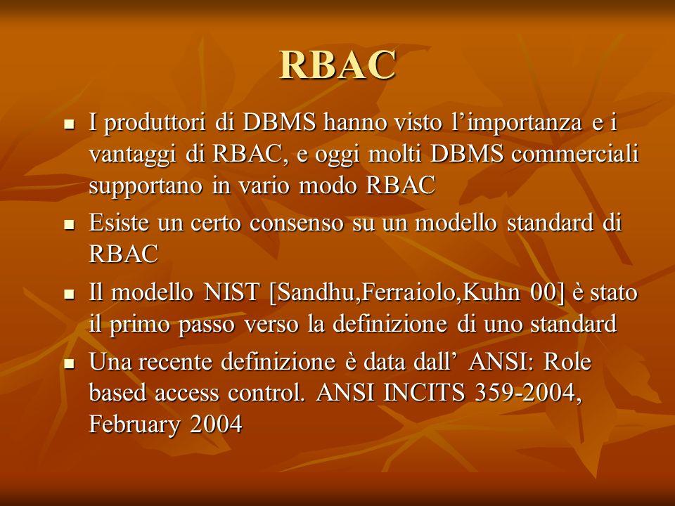 RBAC I produttori di DBMS hanno visto limportanza e i vantaggi di RBAC, e oggi molti DBMS commerciali supportano in vario modo RBAC I produttori di DB
