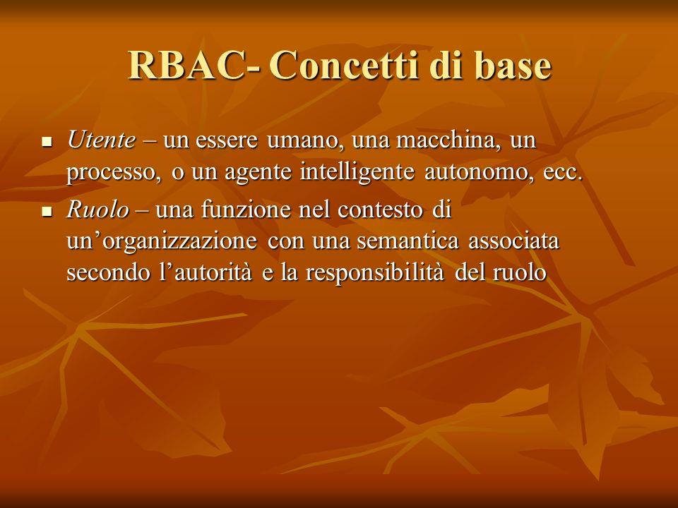RBAC- Concetti di base Utente – un essere umano, una macchina, un processo, o un agente intelligente autonomo, ecc. Utente – un essere umano, una macc