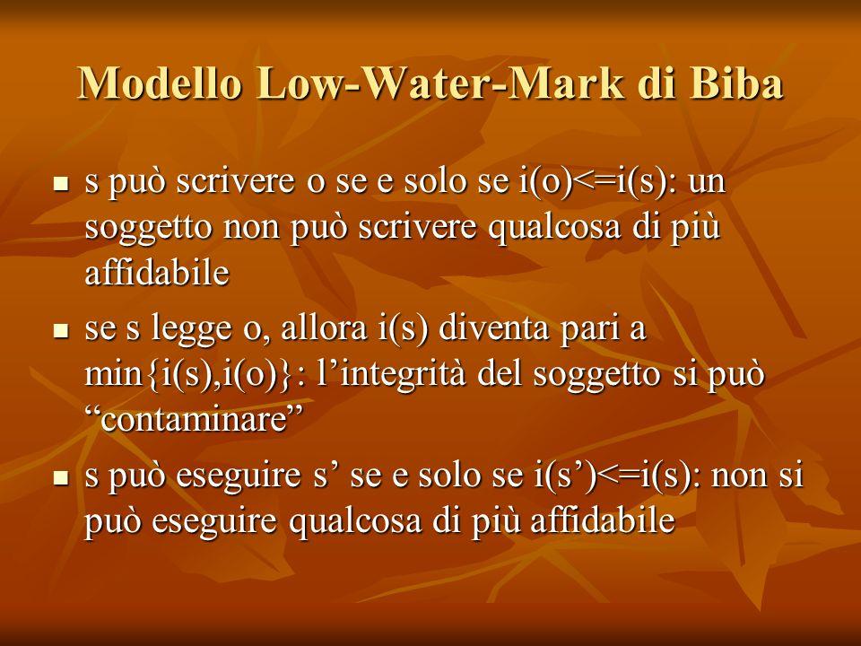 Modello Low-Water-Mark di Biba s può scrivere o se e solo se i(o)<=i(s): un soggetto non può scrivere qualcosa di più affidabile s può scrivere o se e