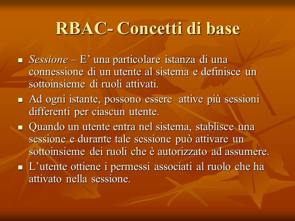 RBAC- Concetti di base Sessione – E una particolare istanza di una connessione di un utente al sistema e definisce un sottoinsieme di ruoli attivati.