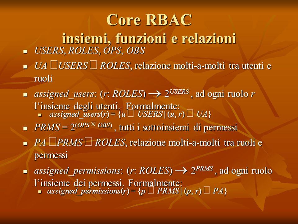 Core RBAC insiemi, funzioni e relazioni USERS, ROLES, OPS, OBS USERS, ROLES, OPS, OBS UA USERS ROLES, relazione molti-a-molti tra utenti e ruoli UA US