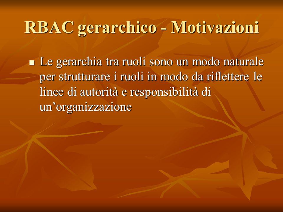 RBAC gerarchico - Motivazioni Le gerarchia tra ruoli sono un modo naturale per strutturare i ruoli in modo da riflettere le linee di autorità e respon