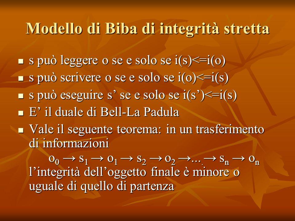 Modello di Biba di integrità stretta s può leggere o se e solo se i(s)<=i(o) s può leggere o se e solo se i(s)<=i(o) s può scrivere o se e solo se i(o