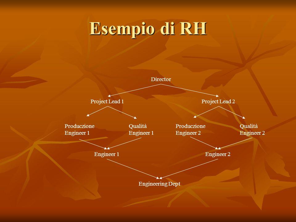 Esempio di RH Produczione Engineer 1 Qualità Engineer 1 Engineering Dept Produczione Engineer 2 Qualità Engineer 2 Project Lead 1 Director Project Lea