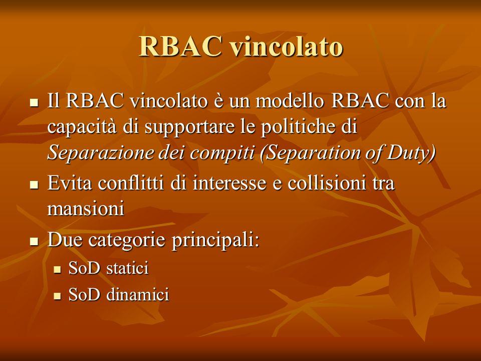 RBAC vincolato Il RBAC vincolato è un modello RBAC con la capacità di supportare le politiche di Separazione dei compiti (Separation of Duty) Il RBAC