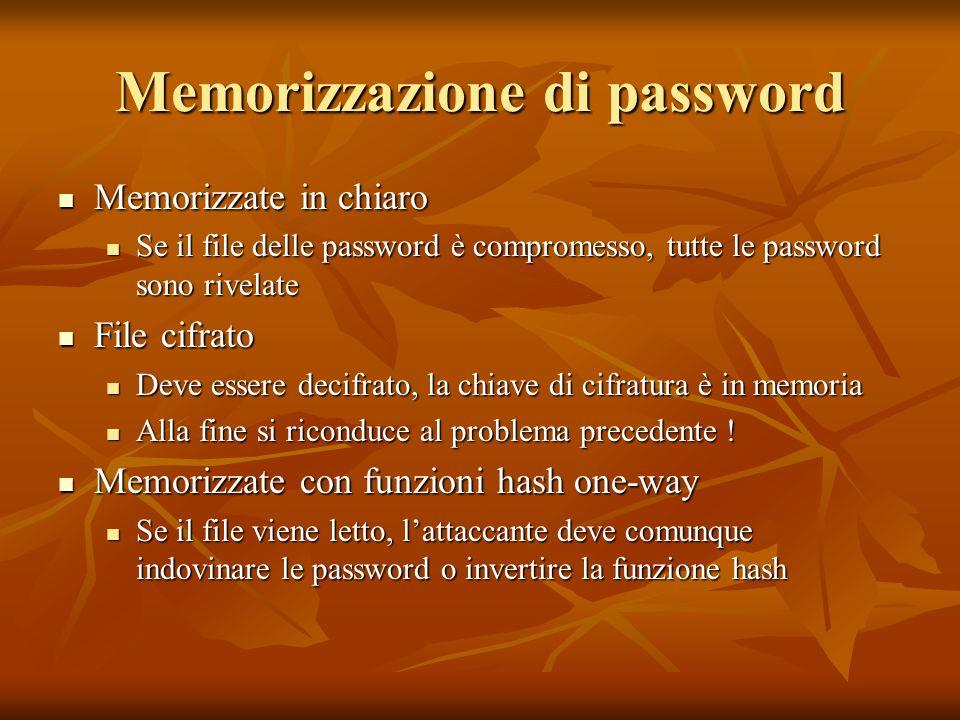 Memorizzazione di password Memorizzate in chiaro Memorizzate in chiaro Se il file delle password è compromesso, tutte le password sono rivelate Se il