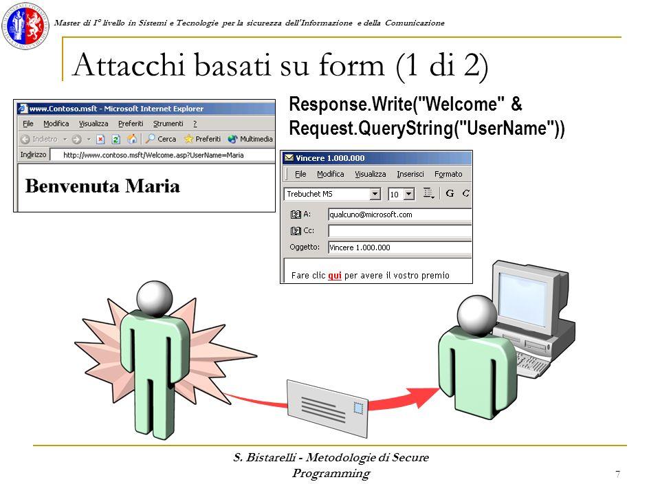 Master di I° livello in Sistemi e Tecnologie per la sicurezza dell'Informazione e della Comunicazione S. Bistarelli - Metodologie di Secure Programmin