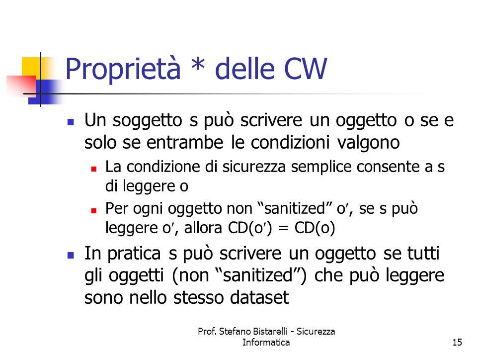 Prof. Stefano Bistarelli - Sicurezza Informatica15 Proprietà * delle CW Un soggetto s può scrivere un oggetto o se e solo se entrambe le condizioni va